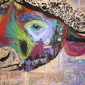 African Buffalo, Mixed Media on Canvas, 150x150cm