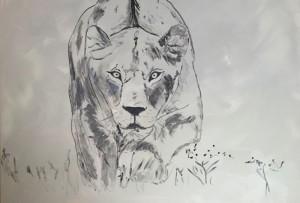 Lioness, Acryl on Canvas, 116x61cm