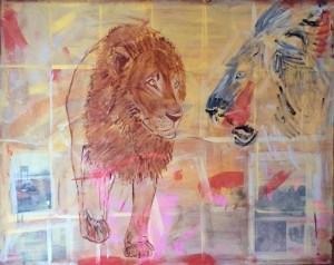 Platzhirsch, Mixed Media on Canvas, 150x120cm