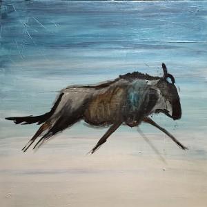Wildebeest Blue, Acryl auf Leinwand, 50x50 cm