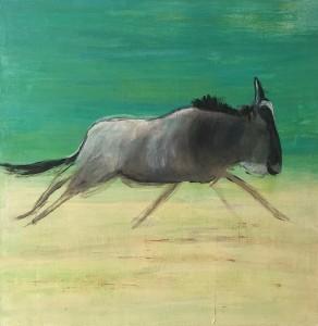 Wildebeest Green Acryl on Canvas, 50x50cm